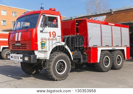 Red Kamaz 43114. Russian Fire Engine