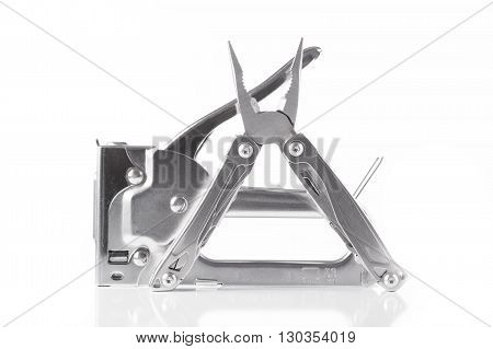 stapler pliers universal tool on white background