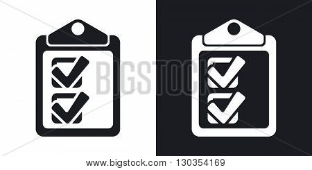 Vector checklist icon. Two-tone version on black and white background