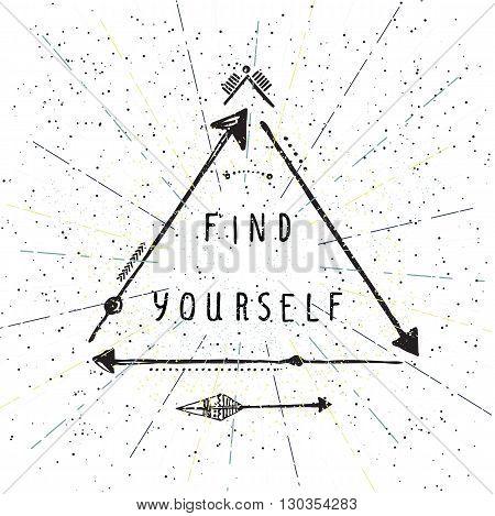 Find Yourself, Lettering, Native American Poster, Hipster, Aztek