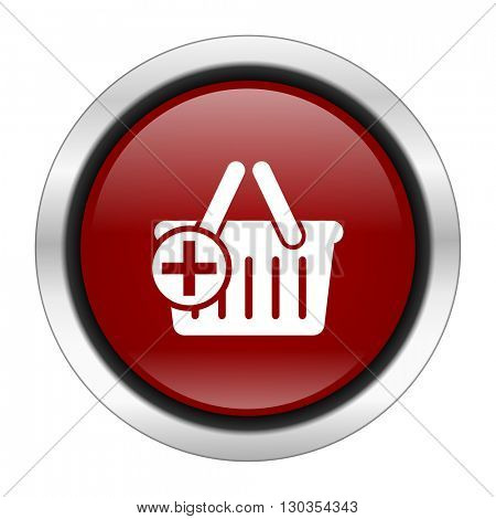 cart icon, red round button isolated on white background, web design illustration