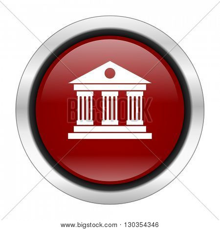 museum icon, red round button isolated on white background, web design illustration