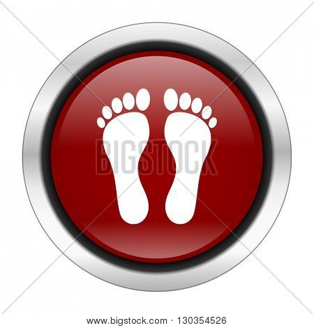 foot icon, red round button isolated on white background, web design illustration
