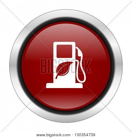biofuel icon, red round button isolated on white background, web design illustration