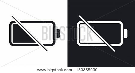 Vector empty battery icon. Two-tone version on black and white background