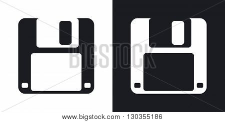 Vector floppy disk icon. Two-tone version on black and white background