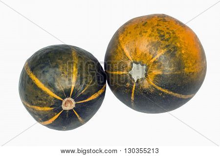 Two isolated green and yellow patterned gem Squashes on white