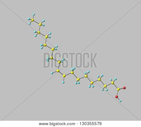 Oleic acid is a fatty acid that occurs naturally in various animal and vegetable fats and oils. It is an odorless colourless oil although commercial samples may be yellowish. 3d illustration