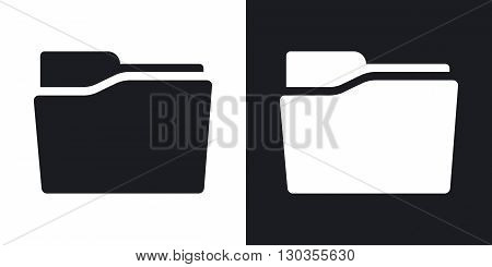 Vector folder icon. Two-tone version on black and white background