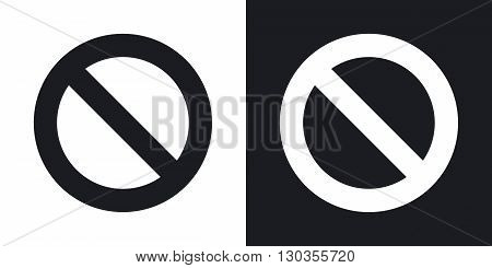 Vector forbidden sign. Two-tone version on black and white background