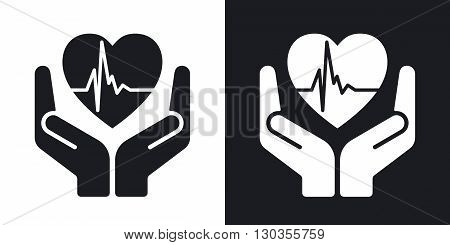 Vector fragile heart sign. Two-tone version on black and white background
