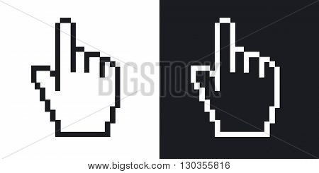 Vector pixelated hand cursor. Two-tone version on black and white background