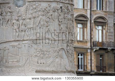 Traiano Trajan column in Rome detail close