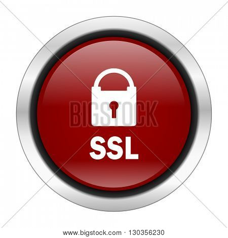 ssl icon, red round button isolated on white background, web design illustration