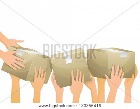 Illustration of Volunteers Carrying Donation Boxes