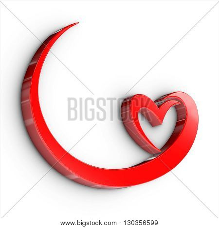 Abstract Heart Wedding And Love 3D Render, 3D Illustration