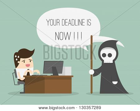 Deadline. Time concept. Business Concept Cartoon Illustration.
