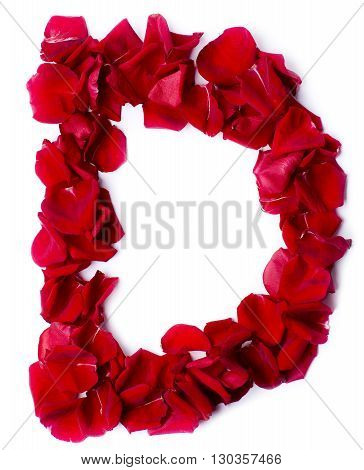 Alphabet D Made From Red Rose