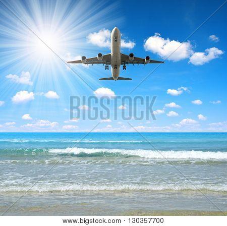 Landing an aircraft on a tropical island.