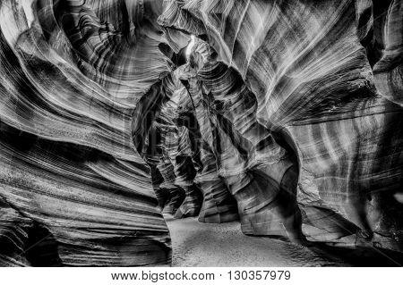 Light Rays Inside Arizona Antelope Canyon In B&w