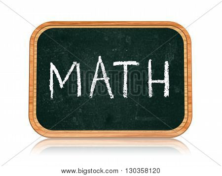math - chalk text on 3d isolated wooden blackboard banner learning success concept