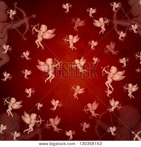 cupid silhouettes with bows and arrows over red old paper celebration holiday valentine card