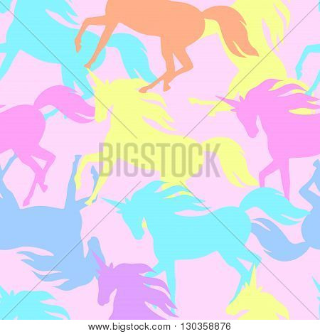 Realistic unicorn silhouette seamless pattern in pastel color. Vector