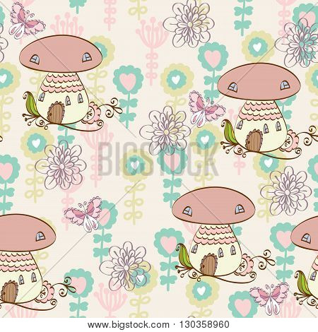 Cute hand draw seamless pattern with a mushroom house