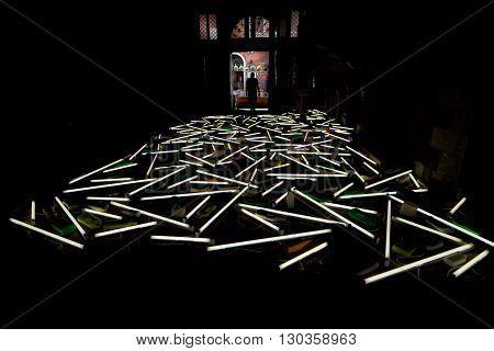 Venice, Italy - September 4, 2013 - Venice Biennal Art Neon Installation