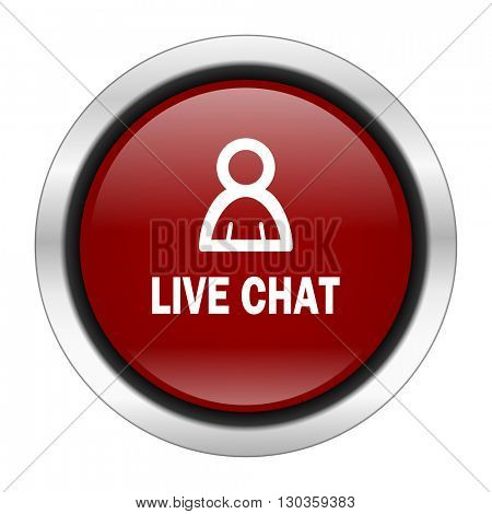 live chat icon, red round button isolated on white background, web design illustration