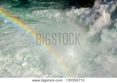 Rainbow On Rhine Waterfalls In Switzerland Detail