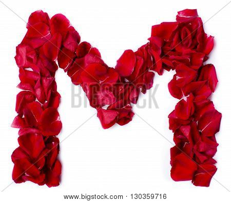 Alphabet M Made From Red Rose