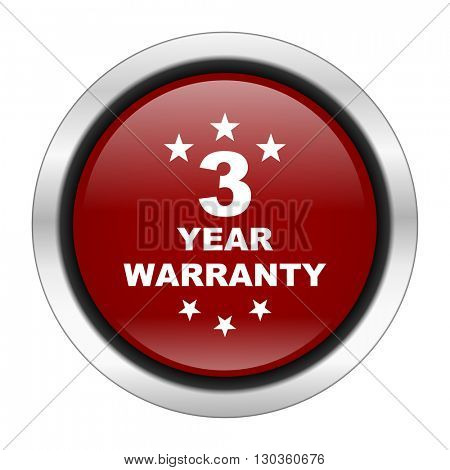 warranty guarantee 3 year icon, red round button isolated on white background, web design illustration