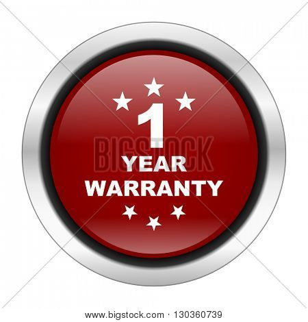 warranty guarantee 1 year icon, red round button isolated on white background, web design illustration