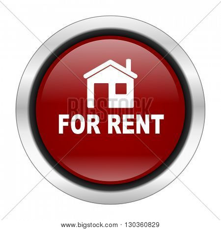 for rent icon, red round button isolated on white background, web design illustration