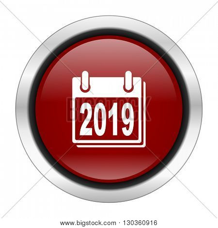 new year 2019 icon, red round button isolated on white background, web design illustration