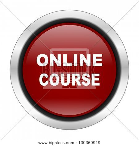 online course icon, red round button isolated on white background, web design illustration