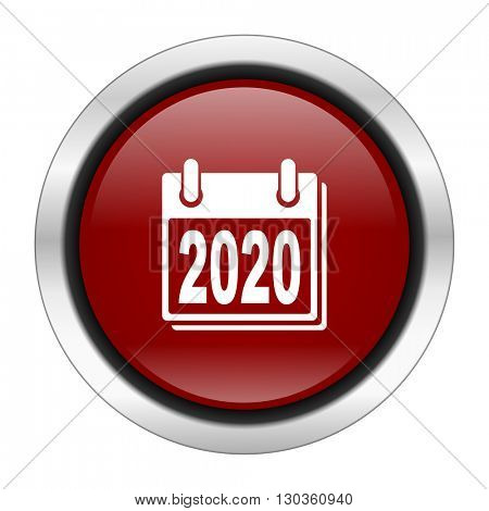new year 2020 icon, red round button isolated on white background, web design illustration