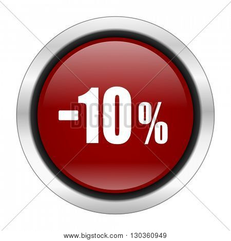 10 percent sale retail icon, red round button isolated on white background, web design illustration