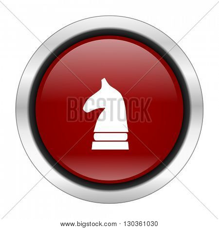 chess horse icon, red round button isolated on white background, web design illustration