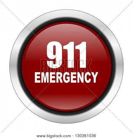 number emergency 911 icon, red round button isolated on white background, web design illustration