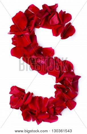 Alphabet S Made From Red Rose