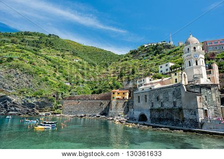 Vernazza Cinque Terre House And Church