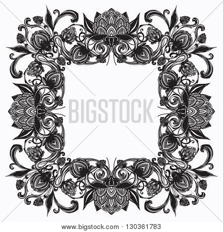 Vector vintage frame with flourish ornament, baroque, rococo style, decorative design