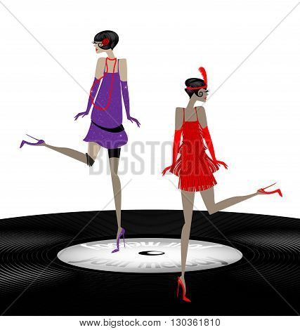 old phonograph record and two abstract girls dancing