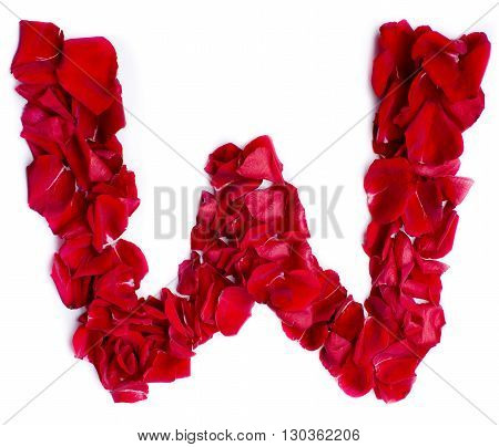Alphabet W Made From Red Rose