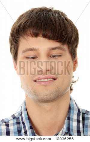 Young man making squint, isolated on white