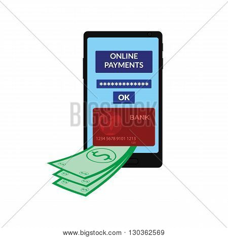 vector illustration. Icon mobile phone screen, the interface of online payments, banking credit card, money, dollars