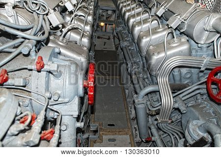 submarine diesel engines close up detail view