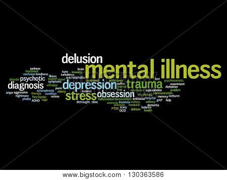 Concept or conceptual mental illness disorder management or therapy abstract word cloud isolated on background